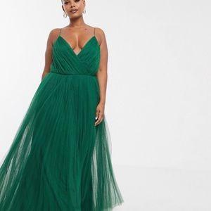 ASOS green tulle maxi dress